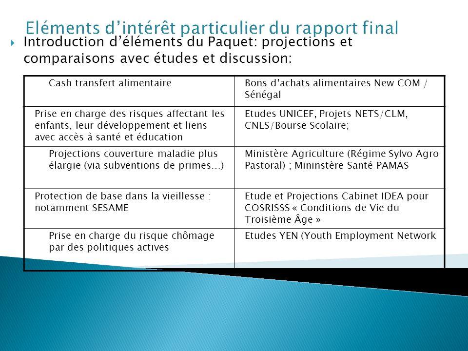 Eléments dintérêt particulier du rapport final Introduction déléments du Paquet: projections et comparaisons avec études et discussion: Cash transfert