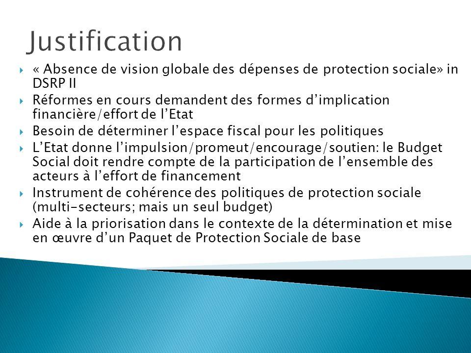 Justification « Absence de vision globale des dépenses de protection sociale» in DSRP II Réformes en cours demandent des formes dimplication financièr