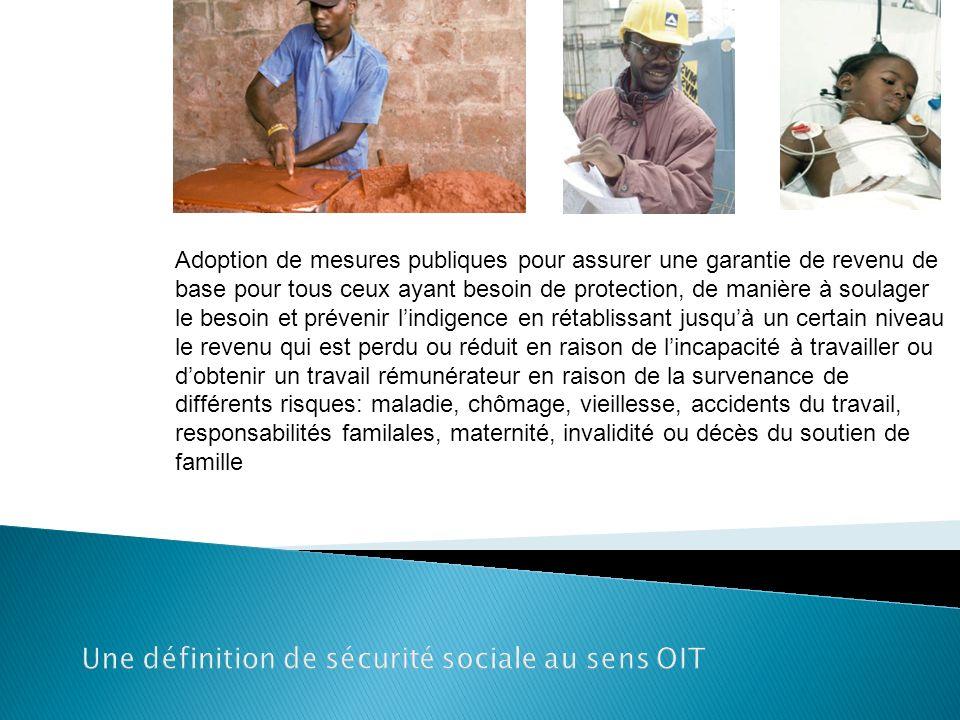 Une définition de sécurité sociale au sens OIT Adoption de mesures publiques pour assurer une garantie de revenu de base pour tous ceux ayant besoin d