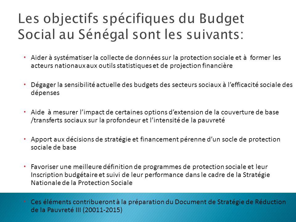 Les objectifs spécifiques du Budget Social au Sénégal sont les suivants: Aider à systématiser la collecte de données sur la protection sociale et à fo