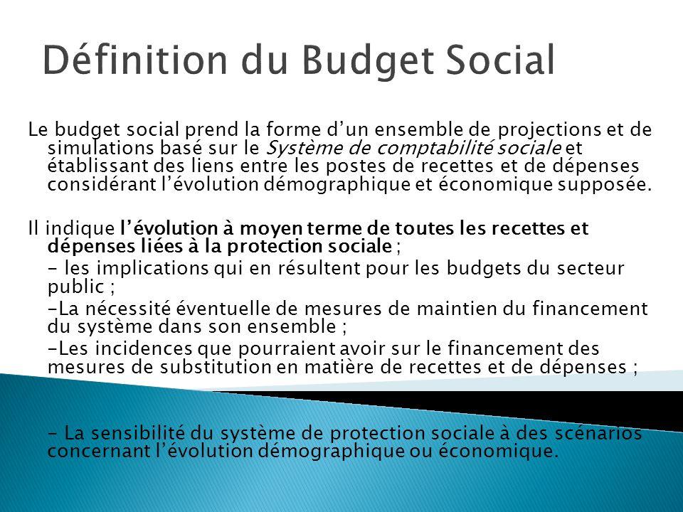 Définition du Budget Social Le budget social prend la forme dun ensemble de projections et de simulations basé sur le Système de comptabilité sociale