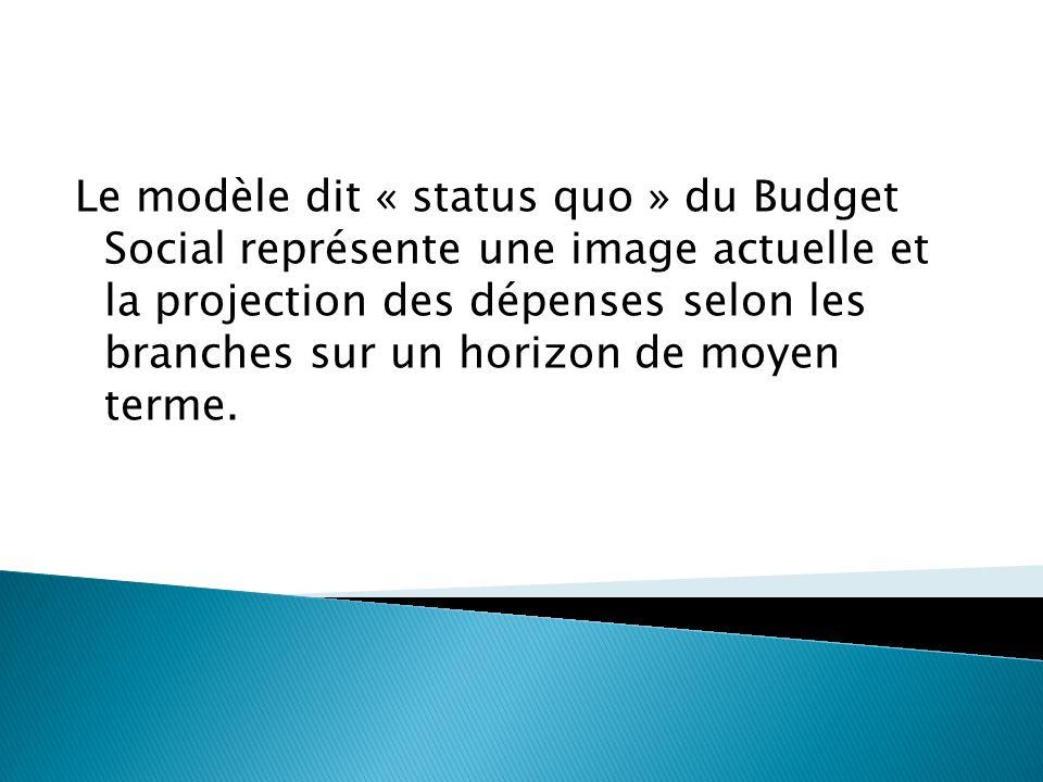 Le modèle dit « status quo » du Budget Social représente une image actuelle et la projection des dépenses selon les branches sur un horizon de moyen t
