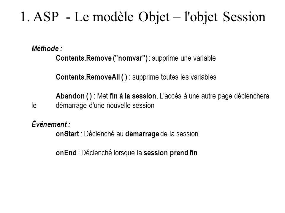 1. ASP - Le modèle Objet – l'objet Session Méthode : Contents.Remove (