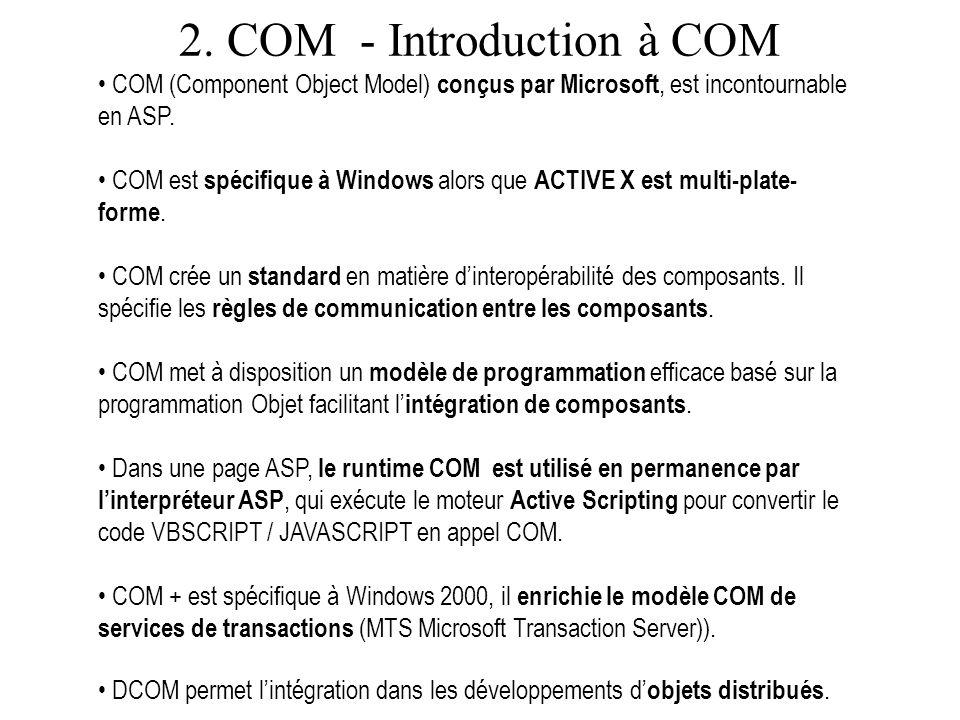 2. COM - Introduction à COM COM (Component Object Model) conçus par Microsoft, est incontournable en ASP. COM est spécifique à Windows alors que ACTIV