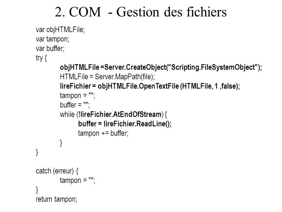 2. COM - Gestion des fichiers var objHTMLFile; var tampon; var buffer; try { objHTMLFile =Server.CreateObject(