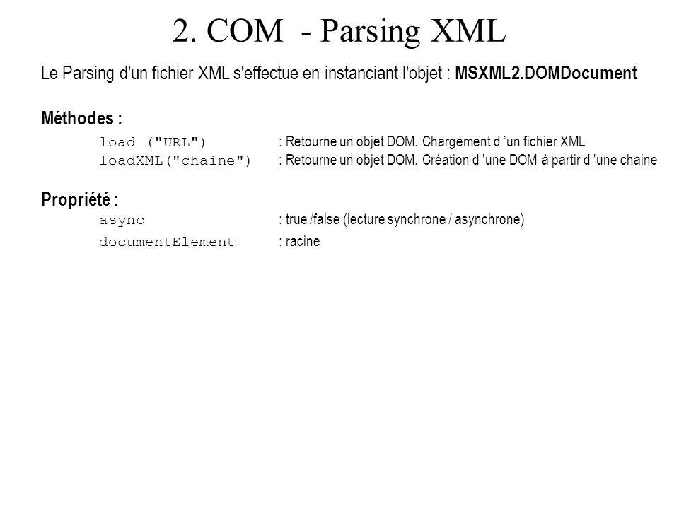 2. COM - Parsing XML Le Parsing d'un fichier XML s'effectue en instanciant l'objet : MSXML2.DOMDocument Méthodes : load (