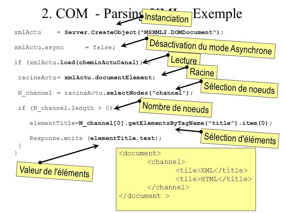 2. COM - Parsing XML - Exemple xmlActu = Server.CreateObject(