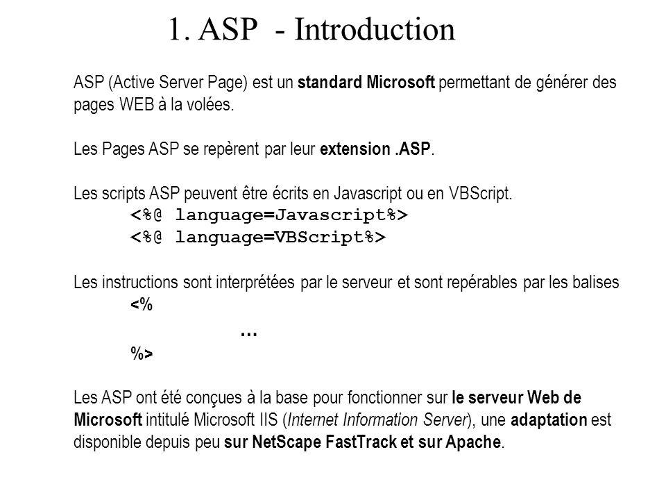 1. ASP - Exemple Exemple de script ASP Compteur valeur de i :