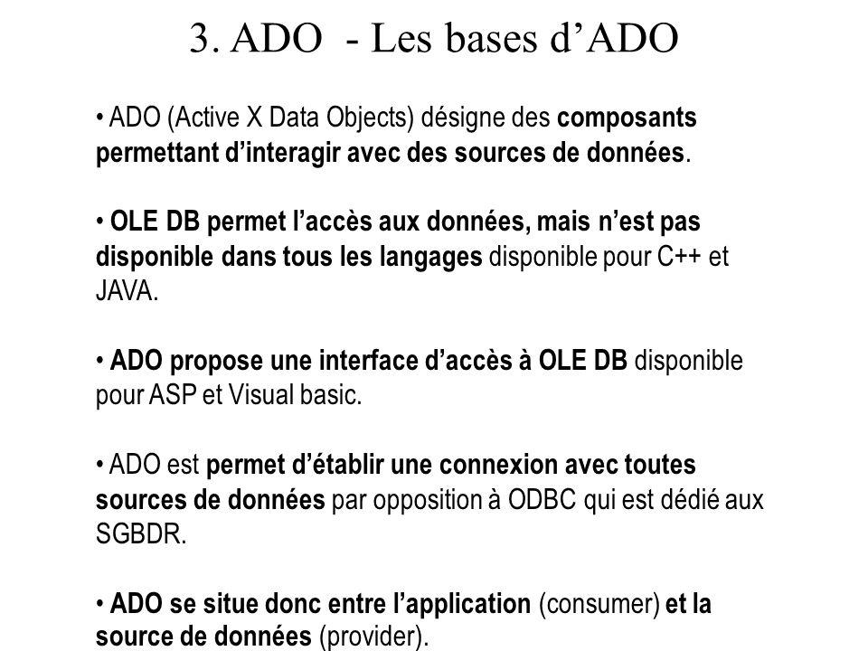 3.ADO - Les bases dADO Lobjet connexion permet de se connecter à une source de données.