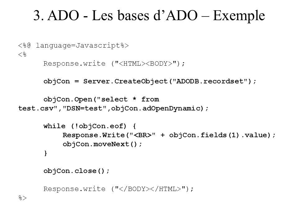 3. ADO - Les bases dADO – Exemple