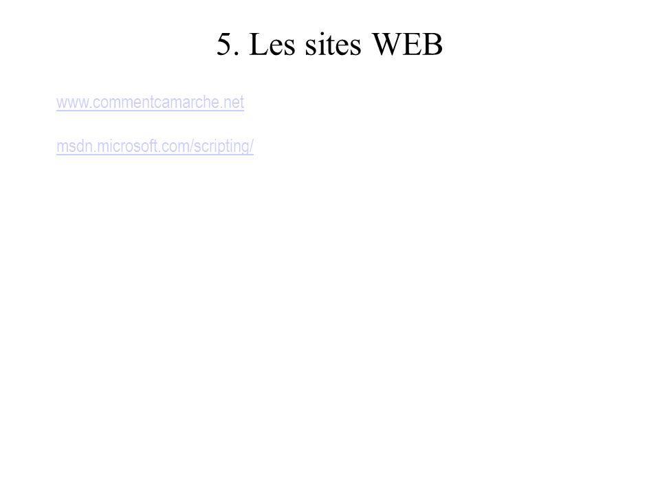 5. Les sites WEB www.commentcamarche.net msdn.microsoft.com/scripting/