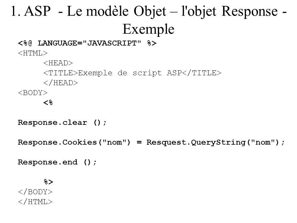 1. ASP - Le modèle Objet – l'objet Response - Exemple Exemple de script ASP <% Response.clear (); Response.Cookies(
