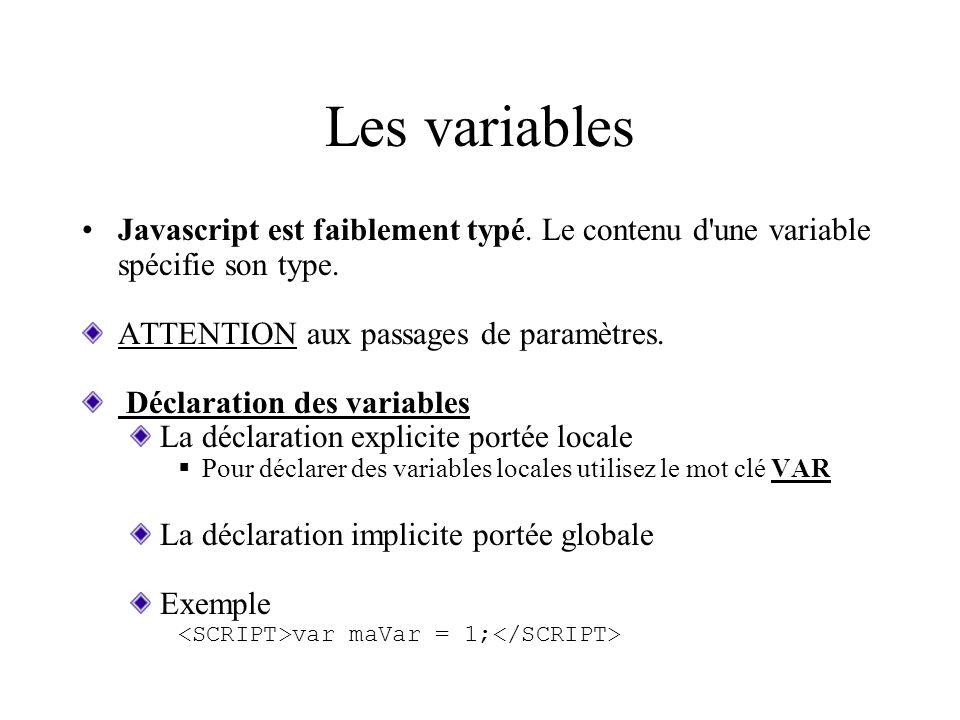 Les variables Javascript est faiblement typé. Le contenu d'une variable spécifie son type. ATTENTION aux passages de paramètres. Déclaration des varia
