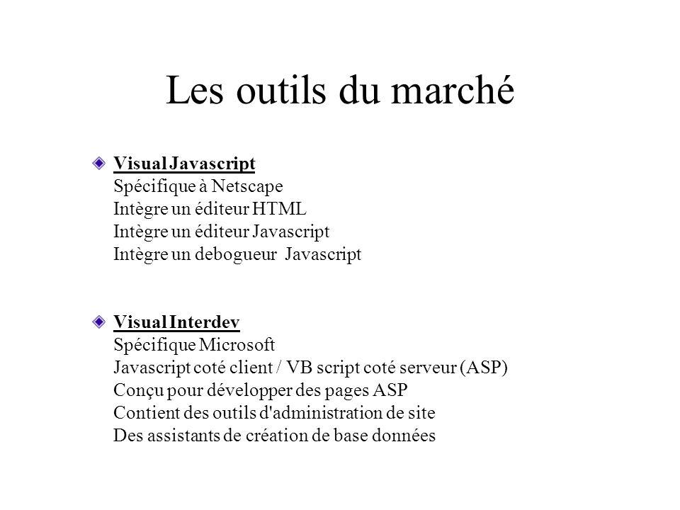 Les outils du marché Visual Javascript Spécifique à Netscape Intègre un éditeur HTML Intègre un éditeur Javascript Intègre un debogueur Javascript Vis