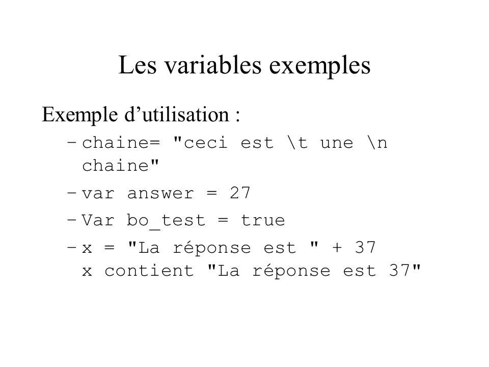 Les variables exemples Exemple dutilisation : –chaine=