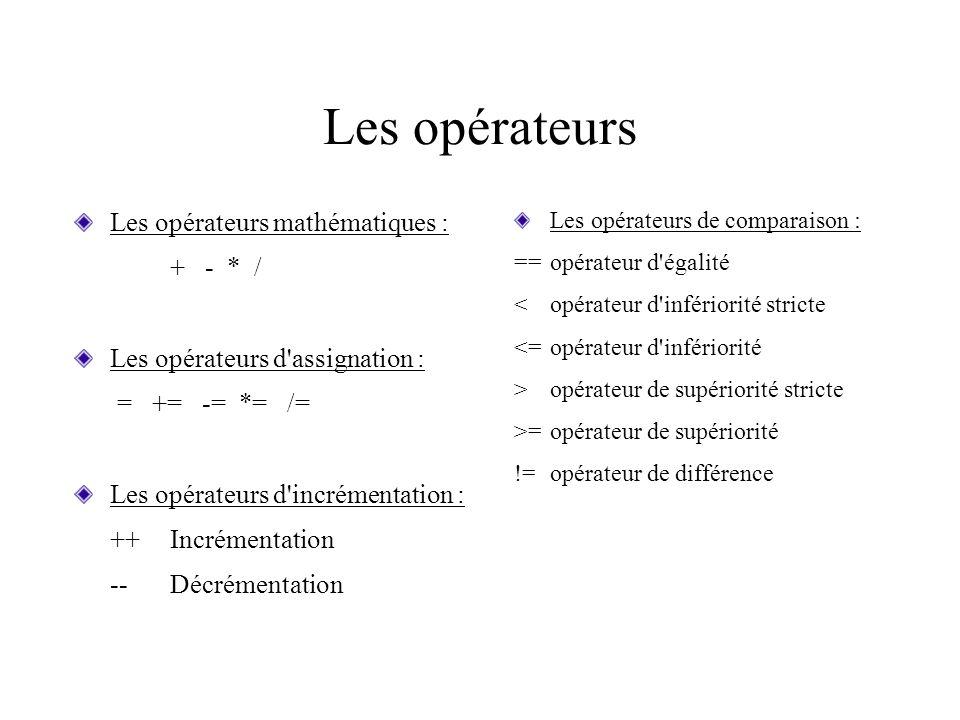 Les opérateurs Les opérateurs mathématiques : + - * / Les opérateurs d'assignation : = += -= *= /= Les opérateurs d'incrémentation : ++Incrémentation