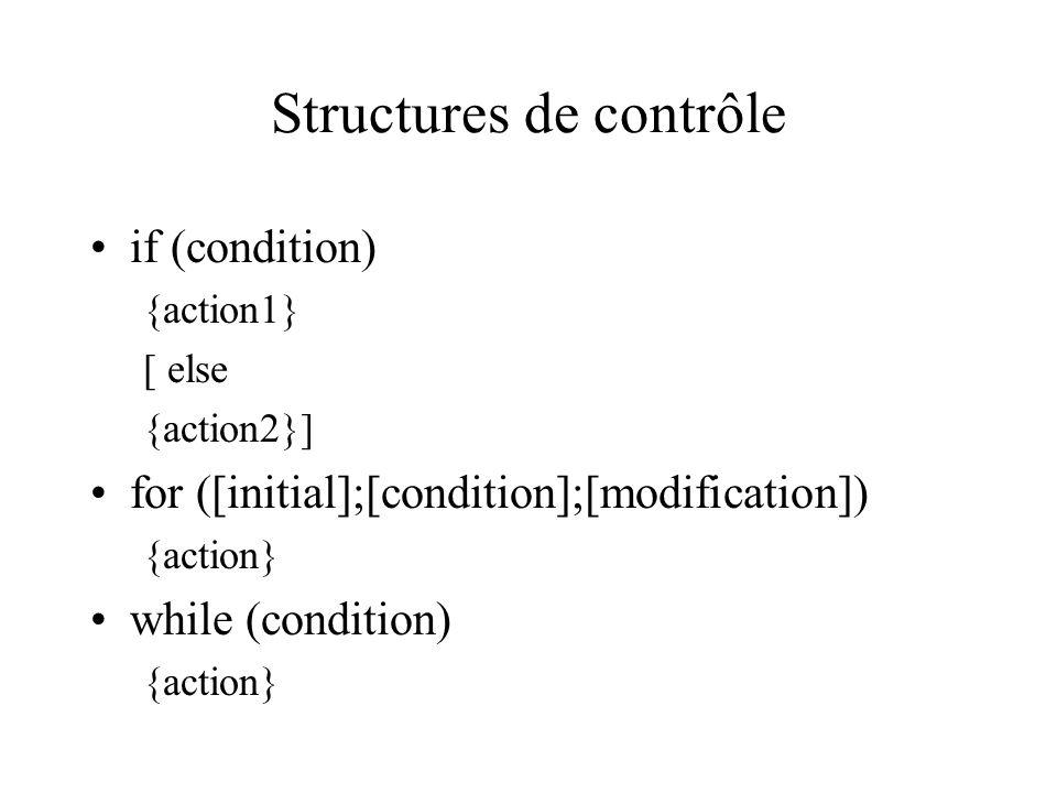 Structures de contrôle if (condition) {action1} [ else {action2}] for ([initial];[condition];[modification]) {action} while (condition) {action}
