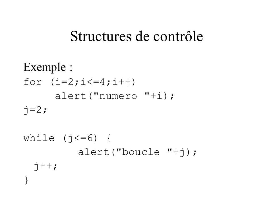 Structures de contrôle Exemple : for (i=2;i<=4;i++) alert(