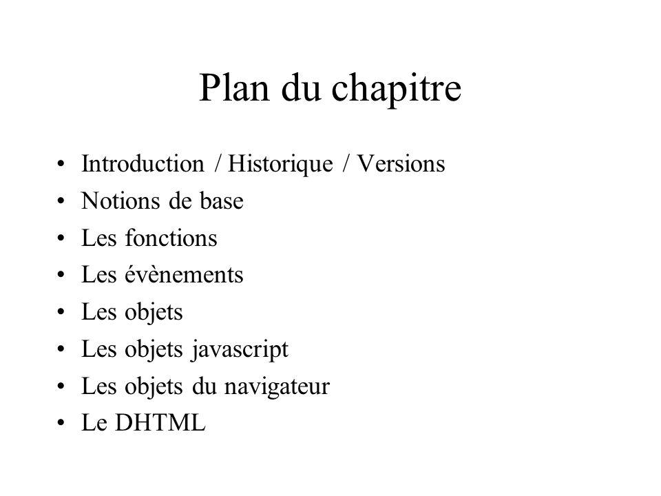Plan du chapitre Introduction / Historique / Versions Notions de base Les fonctions Les évènements Les objets Les objets javascript Les objets du navi