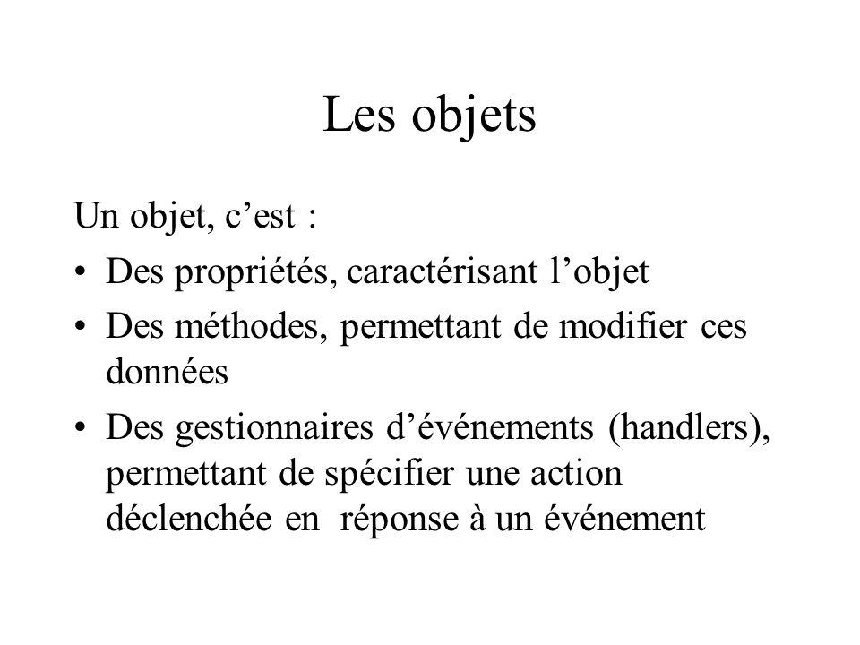 Les objets Un objet, cest : Des propriétés, caractérisant lobjet Des méthodes, permettant de modifier ces données Des gestionnaires dévénements (handl