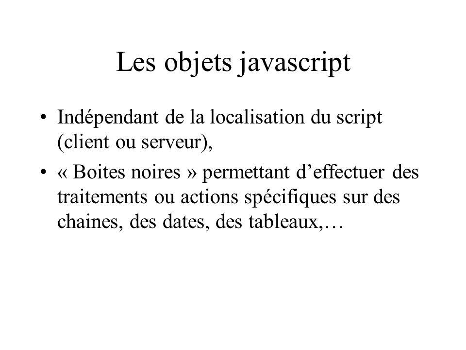 Les objets javascript Indépendant de la localisation du script (client ou serveur), « Boites noires » permettant deffectuer des traitements ou actions