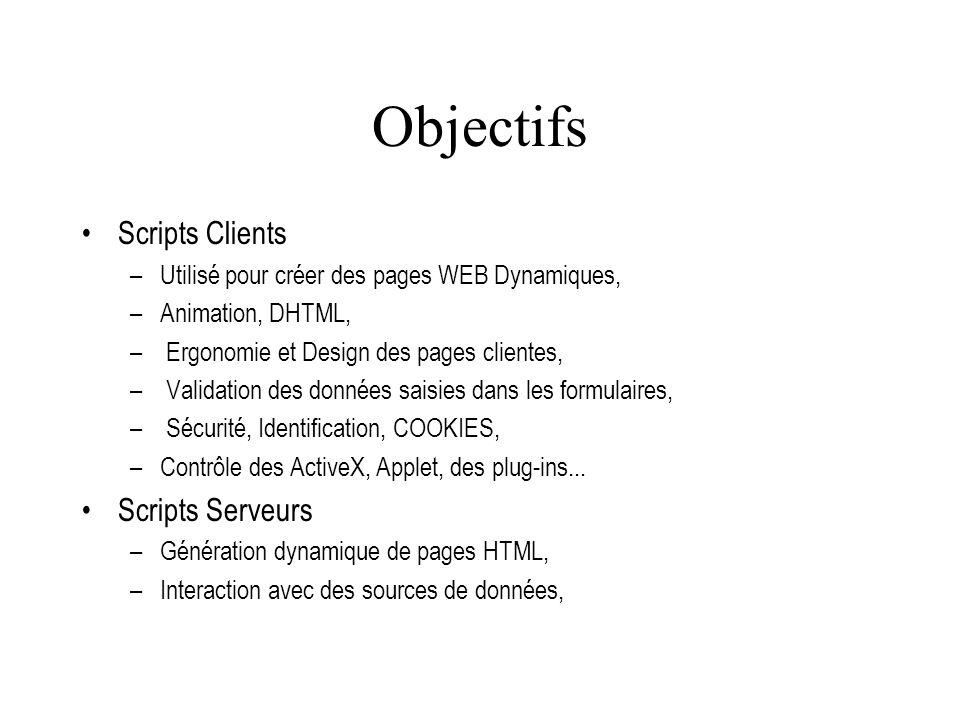 Objectifs Scripts Clients –Utilisé pour créer des pages WEB Dynamiques, –Animation, DHTML, – Ergonomie et Design des pages clientes, – Validation des