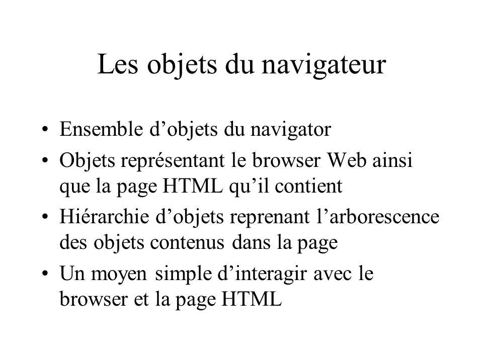 Les objets du navigateur Ensemble dobjets du navigator Objets représentant le browser Web ainsi que la page HTML quil contient Hiérarchie dobjets repr