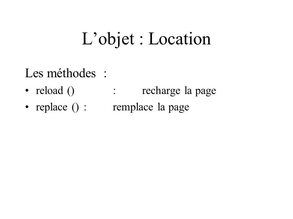 Lobjet : Location Les méthodes : reload ():recharge la page replace () :remplace la page