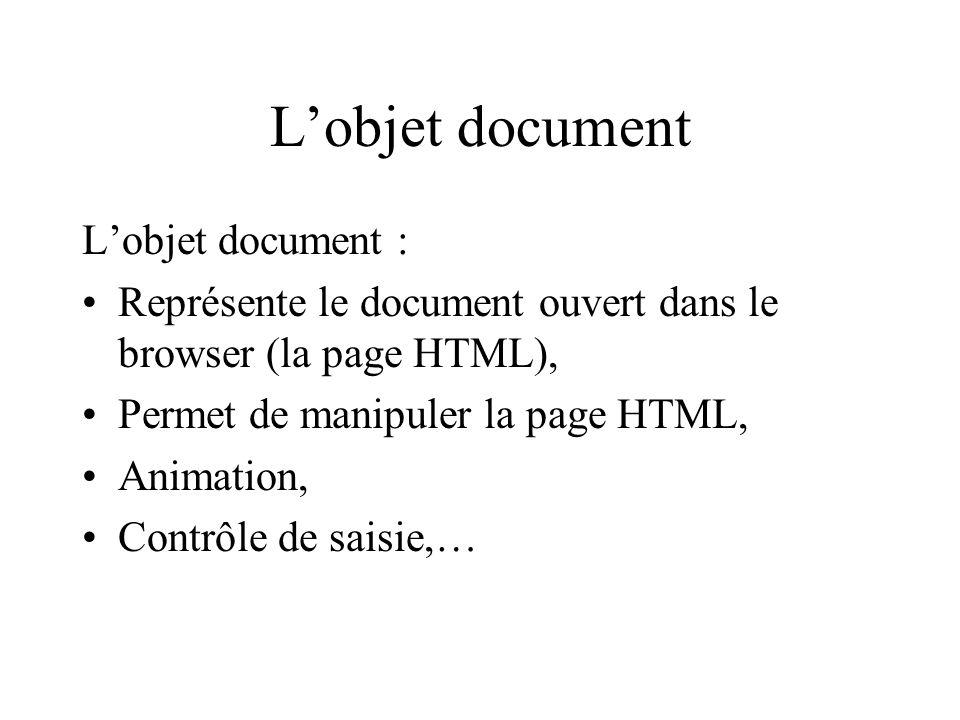 Lobjet document Lobjet document : Représente le document ouvert dans le browser (la page HTML), Permet de manipuler la page HTML, Animation, Contrôle