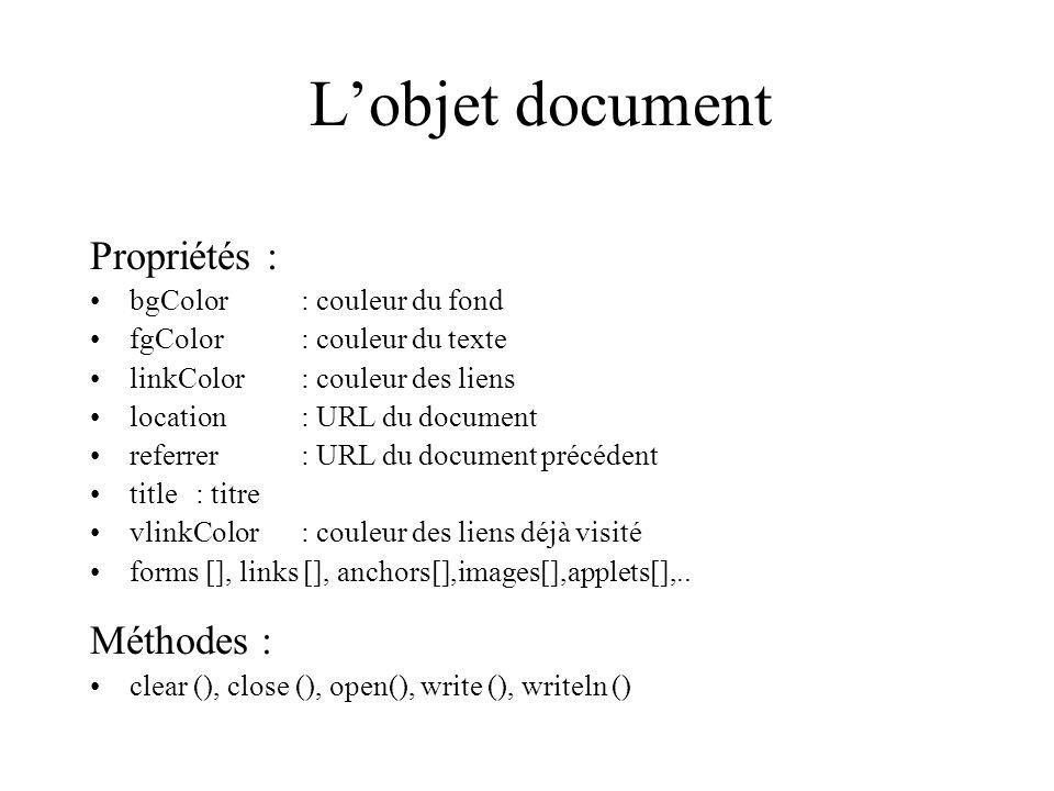 Lobjet document Propriétés : bgColor: couleur du fond fgColor : couleur du texte linkColor: couleur des liens location: URL du document referrer: URL