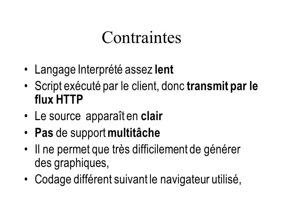 Contraintes Langage Interprété assez lent Script exécuté par le client, donc transmit par le flux HTTP Le source apparaît en clair Pas de support mult