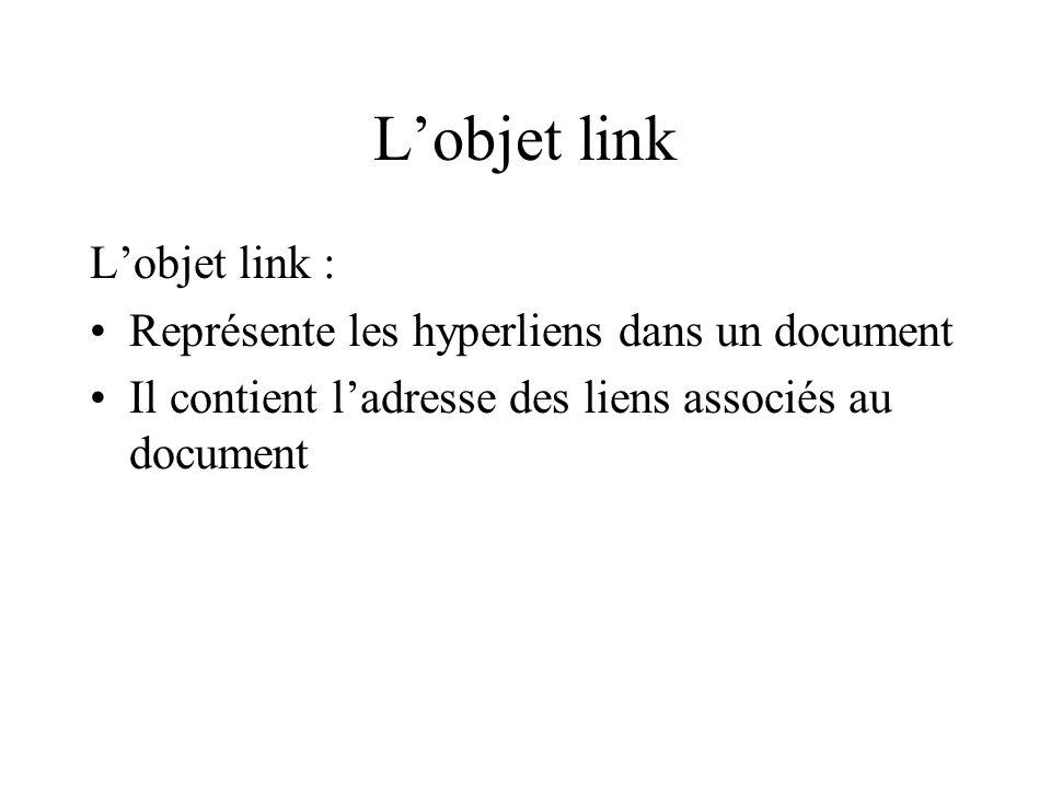 Lobjet link Lobjet link : Représente les hyperliens dans un document Il contient ladresse des liens associés au document