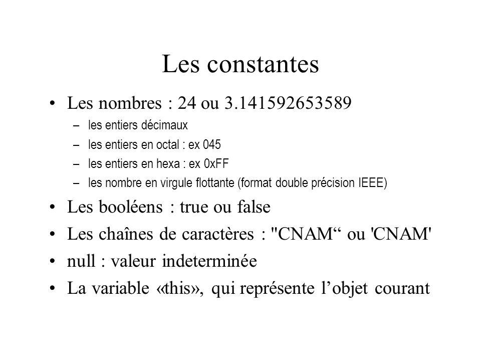 Les constantes Les nombres : 24 ou 3.141592653589 –les entiers décimaux –les entiers en octal : ex 045 –les entiers en hexa : ex 0xFF –les nombre en v