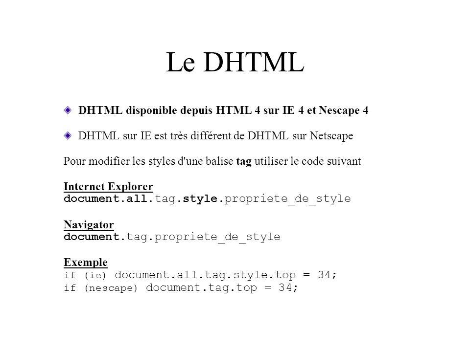 Le DHTML DHTML disponible depuis HTML 4 sur IE 4 et Nescape 4 DHTML sur IE est très différent de DHTML sur Netscape Pour modifier les styles d'une bal