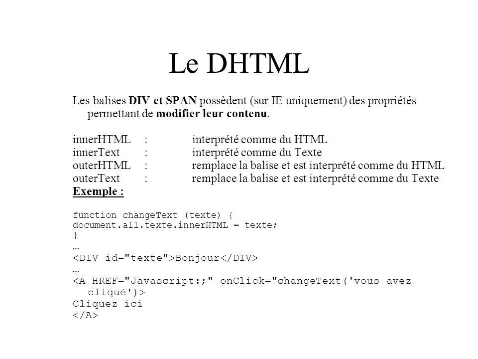 Le DHTML Les balises DIV et SPAN possèdent (sur IE uniquement) des propriétés permettant de modifier leur contenu. innerHTML:interprété comme du HTML