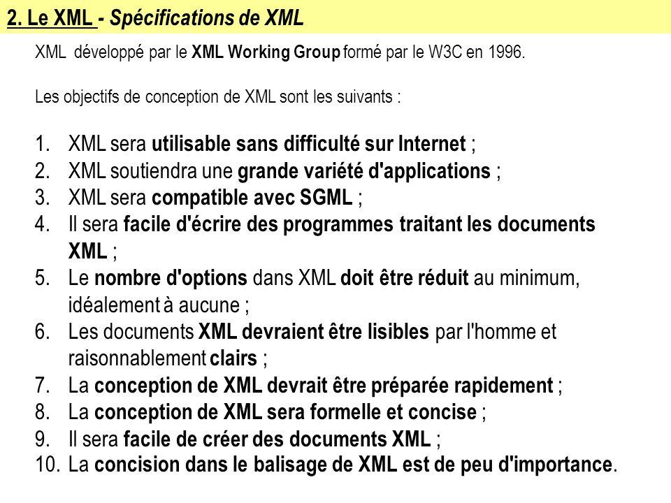 2. Le XML - Spécifications de XML XML développé par le XML Working Group formé par le W3C en 1996. Les objectifs de conception de XML sont les suivant
