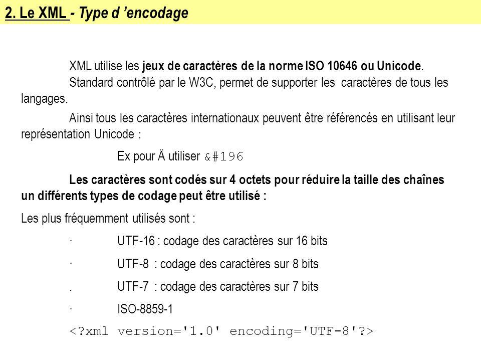 2. Le XML - Type d encodage XML utilise les jeux de caractères de la norme ISO 10646 ou Unicode. Standard contrôlé par le W3C, permet de supporter les