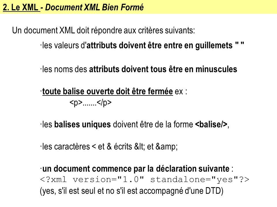 2. Le XML - Document XML Bien Formé Un document XML doit répondre aux critères suivants: ·les valeurs d' attributs doivent être entre en guillemets