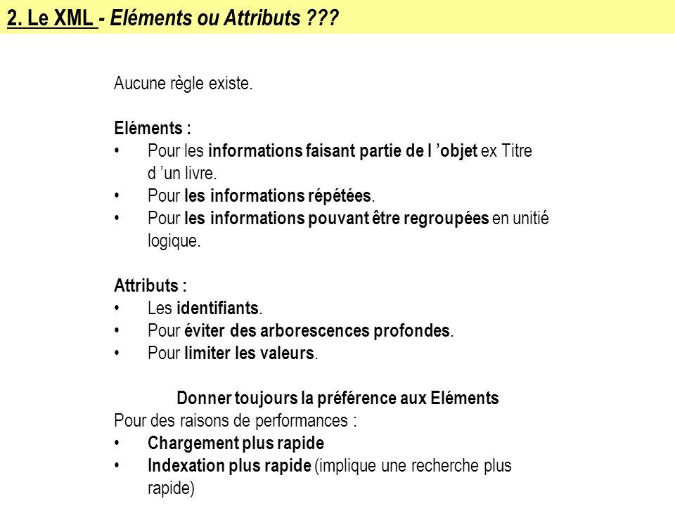 2. Le XML - Eléments ou Attributs ??? Aucune règle existe. Eléments : Pour les informations faisant partie de l objet ex Titre d un livre. Pour les in
