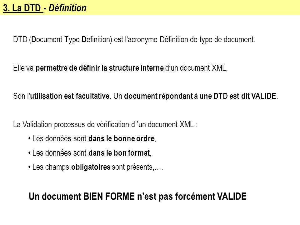3. La DTD - Définition DTD ( D ocument T ype D efinition) est l'acronyme Définition de type de document. Elle va permettre de définir la structure int