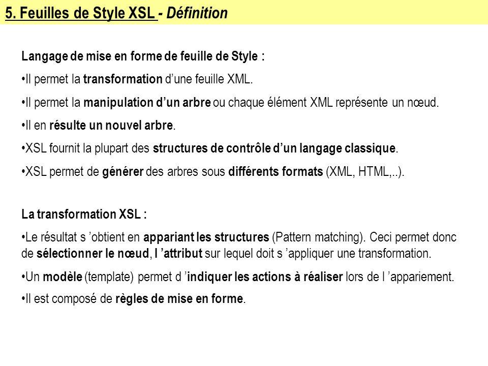 5. Feuilles de Style XSL - Définition Langage de mise en forme de feuille de Style : Il permet la transformation dune feuille XML. Il permet la manipu