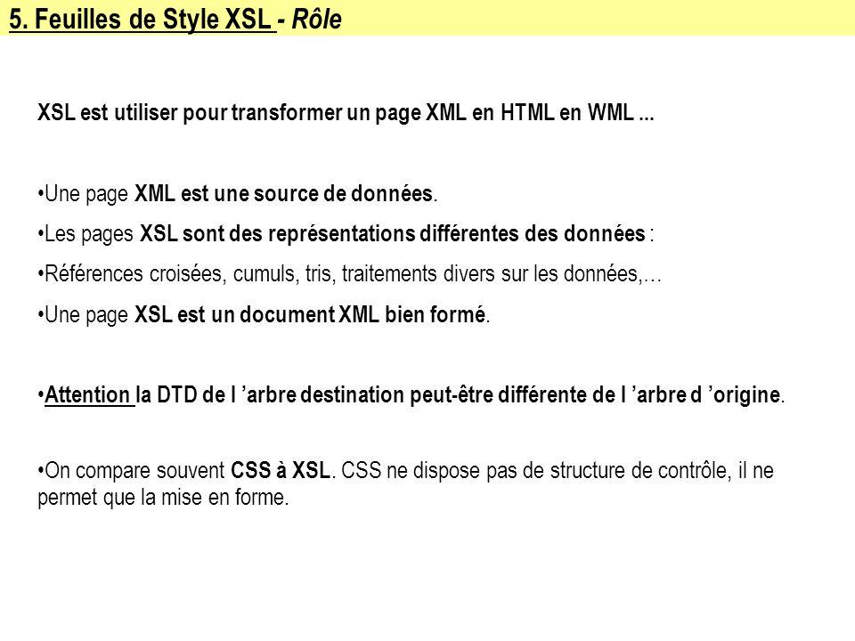 5. Feuilles de Style XSL - Rôle XSL est utiliser pour transformer un page XML en HTML en WML... Une page XML est une source de données. Les pages XSL