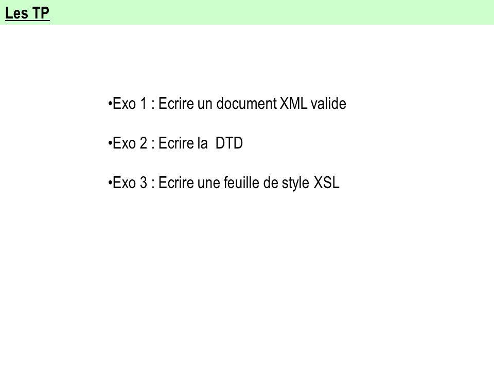 Les TP Exo 1 : Ecrire un document XML valide Exo 2 : Ecrire la DTD Exo 3 : Ecrire une feuille de style XSL