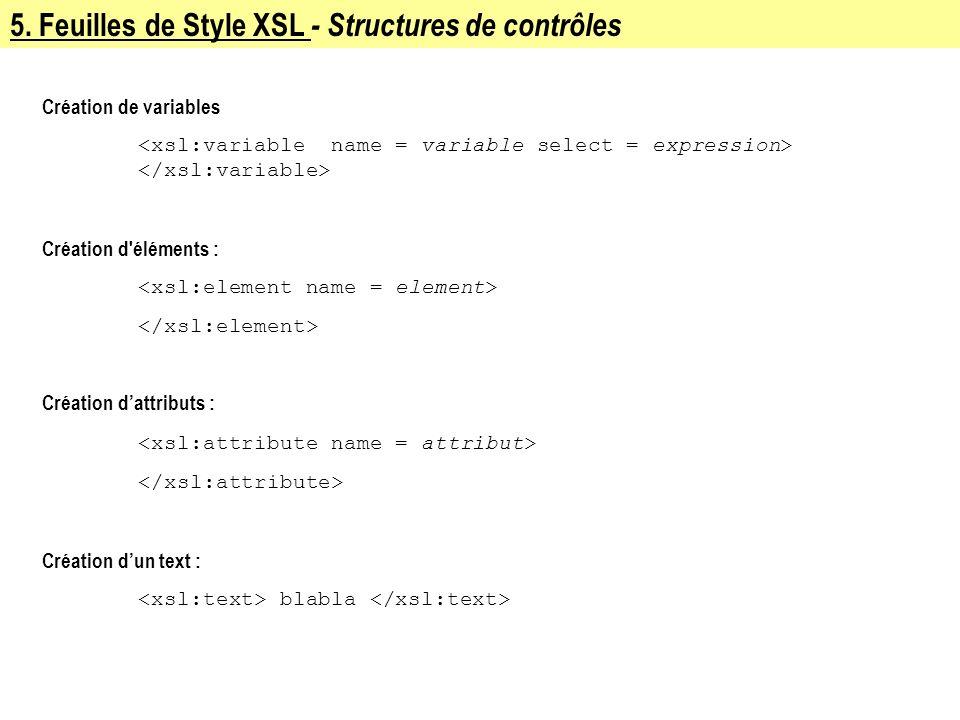 5. Feuilles de Style XSL - Structures de contrôles Création de variables Création d'éléments : Création dattributs : Création dun text : blabla
