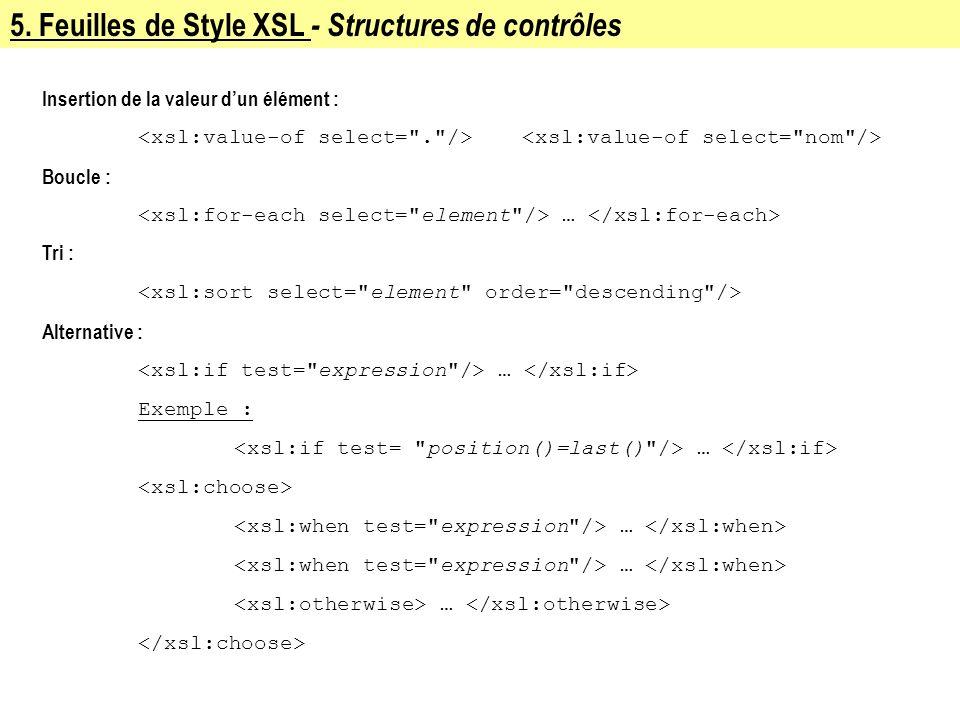 5. Feuilles de Style XSL - Structures de contrôles Insertion de la valeur dun élément : Boucle : … Tri : Alternative : … Exemple : … …
