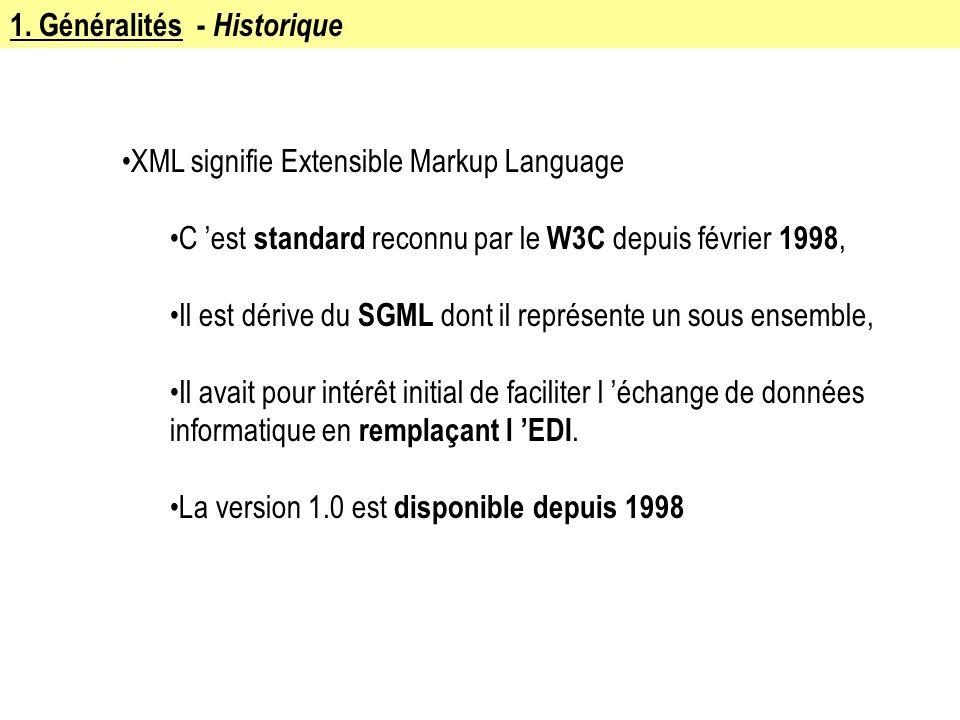 1. Généralités - Historique XML signifie Extensible Markup Language C est standard reconnu par le W3C depuis février 1998, Il est dérive du SGML dont
