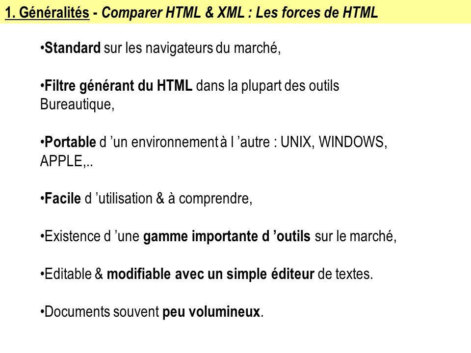 1. Généralités - Comparer HTML & XML : Les forces de HTML Standard sur les navigateurs du marché, Filtre générant du HTML dans la plupart des outils B
