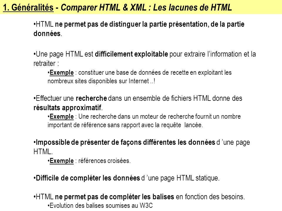 1. Généralités - Comparer HTML & XML : Les lacunes de HTML HTML ne permet pas de distinguer la partie présentation, de la partie données. Une page HTM