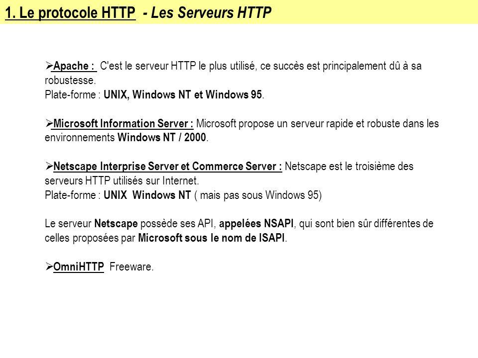 1. Le protocole HTTP - Les Serveurs HTTP Apache : C'est le serveur HTTP le plus utilisé, ce succès est principalement dû à sa robustesse. Plate-forme