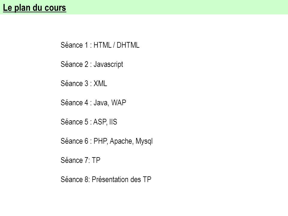 Le plan du cours Séance 1 : HTML / DHTML Séance 2 : Javascript Séance 3 : XML Séance 4 : Java, WAP Séance 5 : ASP, IIS Séance 6 : PHP, Apache, Mysql S